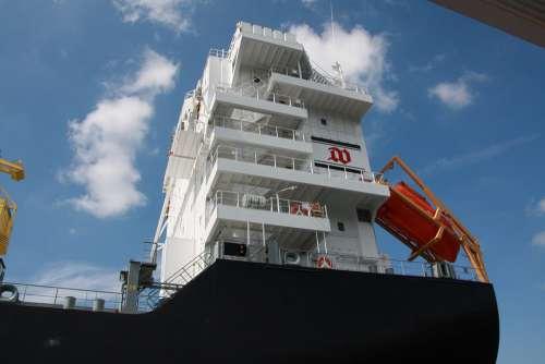 Ship Container Ship Bridge Port Water Sky Hamburg