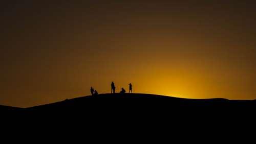Silhouette Morocco Desert Nature Sunset Dune