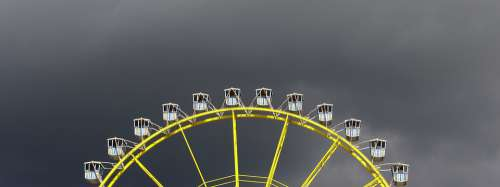 Sky Grey Ferris Wheel Yellow Gondolas