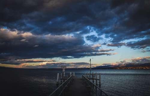 Sky Clouds Lake Pontoon Landing Twilight Evening