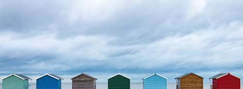 Sky Storm Huts Colour Clouds Landscape Beach
