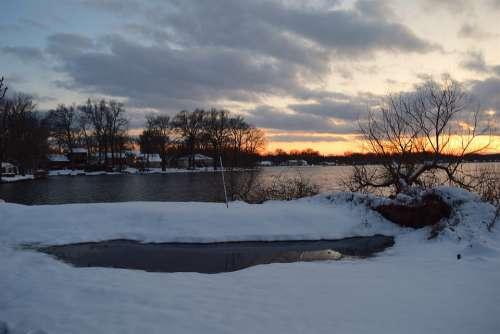 Snow Winter Sunset Lake Cold Nature Landscape
