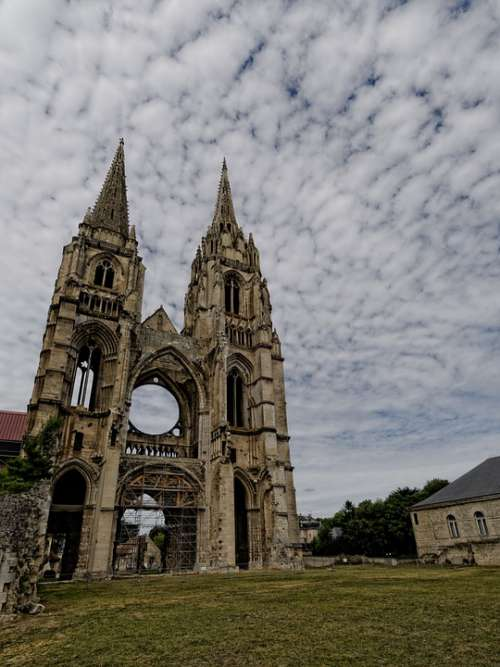 Soissons France Cathedral Sky Clouds Gothic