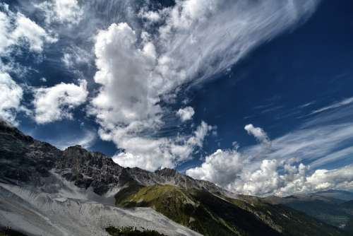 South Tyrol Ortler Alpine Mountains Clouds Sky