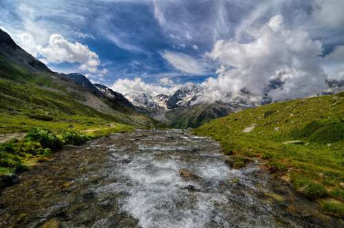 South Tyrol Mountains River Clouds Ortler Sky