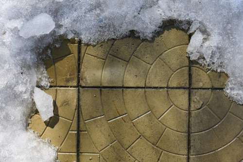 Spring Tile Paving Ice Snow Melts Background