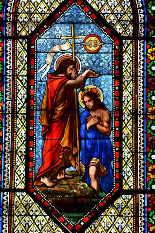 Stained Glass Colorful Baptism Adult Religion