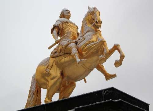 Statue Rider Gold August Horse Snow Dresden