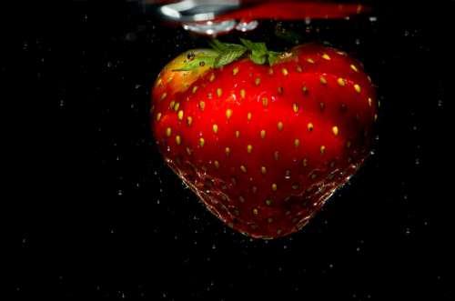 Strawberry Water Fruit Red Fresh Food Splash