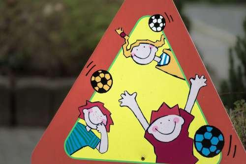 Street Shield Street Sign Children Cheerful Joy