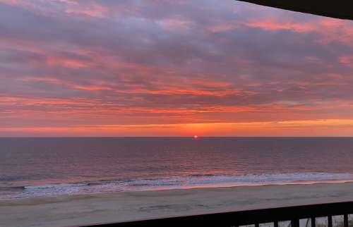 Sunrise Ocean Beach Morning Water Sky Dawn