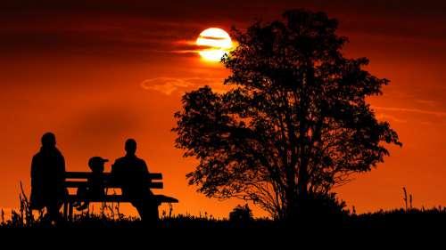 Sunset Family Bench Romance Child Set Happy