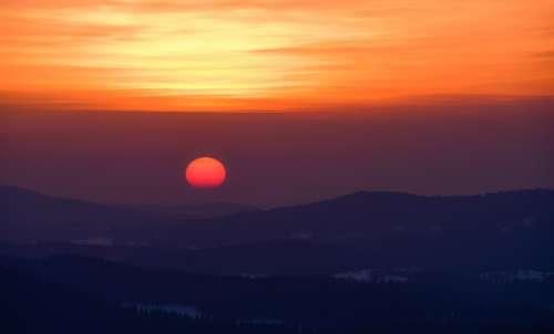 Sunset Landscape Twilight Winter Forest