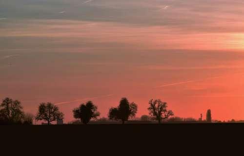 Sunset Sky Landscape Clouds Horizon Orange