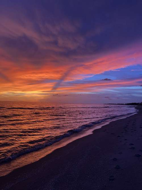Sunset Colorful Florida Sky Water Beach Tropical