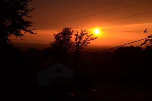 Sunset Black Orange Nature Sun Sky Light Clouds