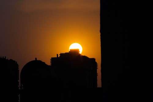 Sunset Building Sun Dawn Dark