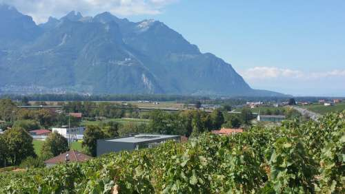 Switzerland Valais Rock Mountains Alpine Sky