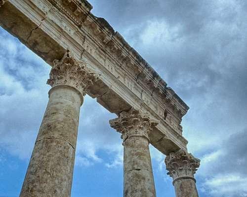 Syria Apamea Roman Ruins Sky Blue Archaeology