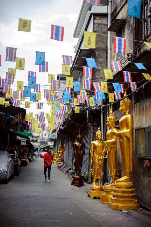 Thailand Street Lane Holiday Flag Man Buddha