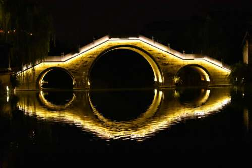 The Ancient Town Night View Bridge Symmetry River