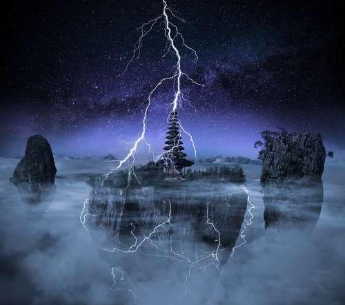 Thunder Night Lightning Storm Thunderstorm Dark