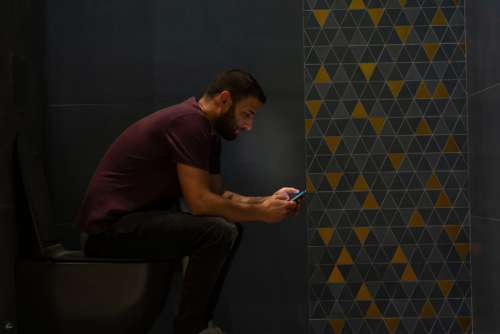 Toilet Bathroom Wc Phone Smartphone Men White