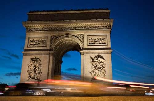 Traffic Arc De Triomphe Paris Iconic Monument