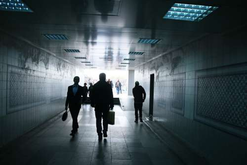 Tunnel People Dark Walk Man Light Architecture