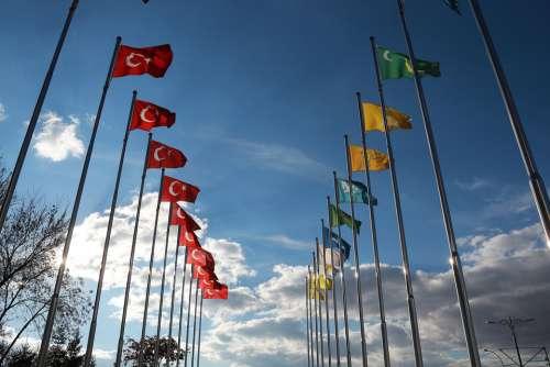 Turkish Flag Flag Sky Cloud Blue Yellow Direct