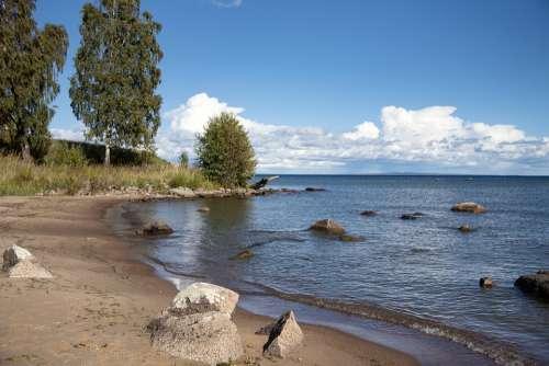 Vättern Beach Sand Stones Solar Summer Water