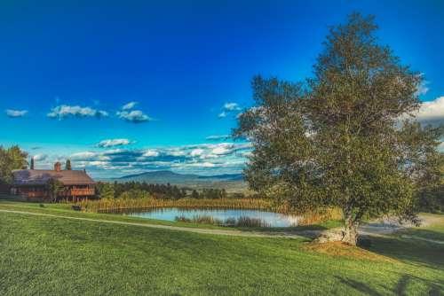 Vermont New England Pond Sky Clouds Landscape