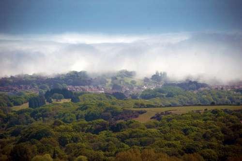 Village Mist Landscape Fog Nature Morning