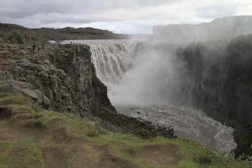 Waterfall Iceland Landscape Nature