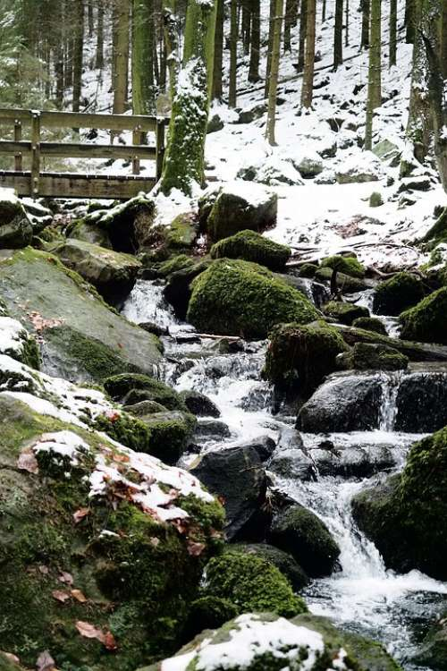 Winter Bach Bridge Rock Water Snow Cold Nature