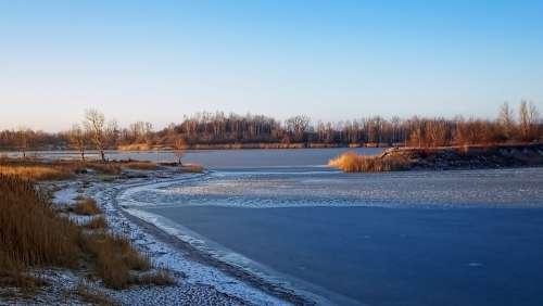 Winter Lake Frozen Ice Landscape Sky Wintry Mood