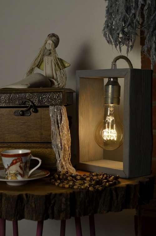 Wooden Lamp Casket Teacup Mood Evening Composition