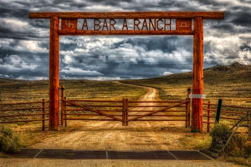 Wyoming America Ranch Gate Dirt Road Sign Sky