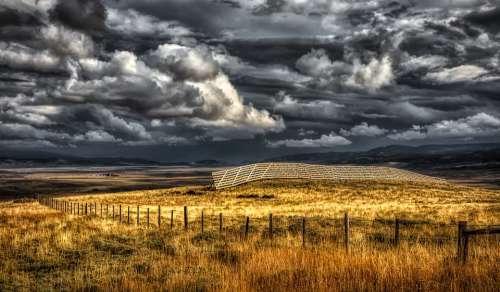 Wyoming America Fields Meadows Sky Clouds Mood