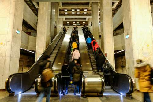 People Standing on Automatic Stairs
