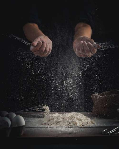 Baker with wheat flour