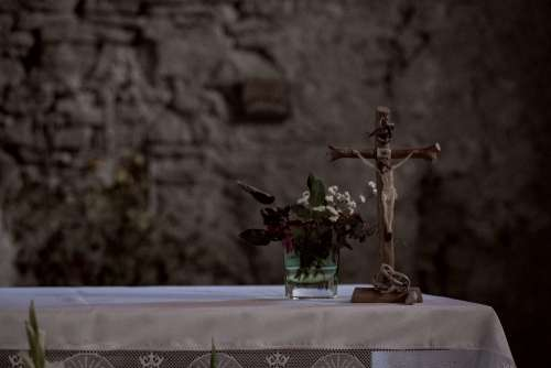 Stone wall church altar