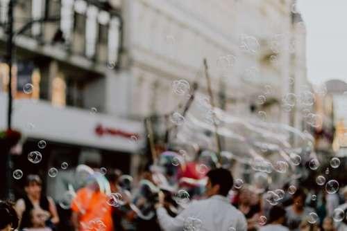 A show of soap bubbles on Piotrkowska Street in Łódź, Poland