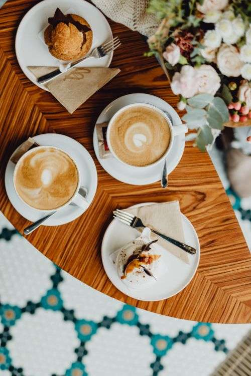 Delicious coffee & dessert in the Beza café in Lodz, Poland