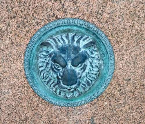 lion emblem brass plaque pride