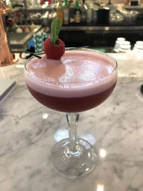 cocktail raspberry mint bar alcohol. marble