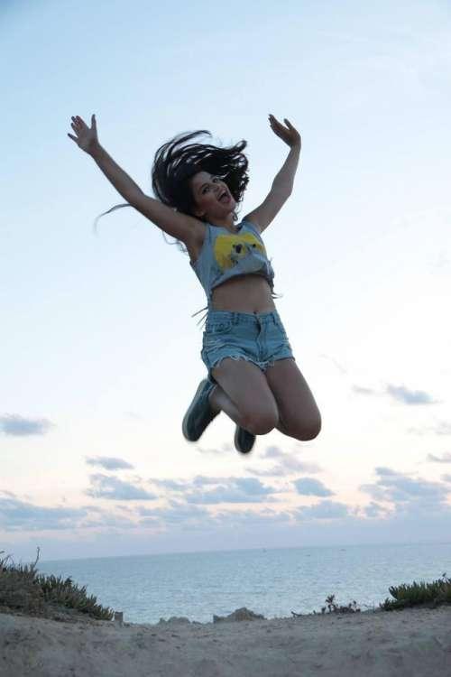 freedom happy summer ocean teenager jump