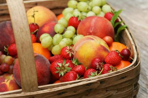 fruit  grapes  strawberries  peaches  basket
