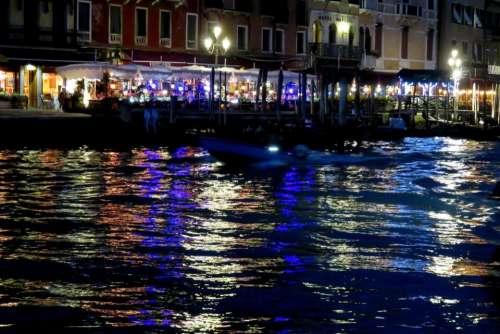 Venice restaurant café night lights
