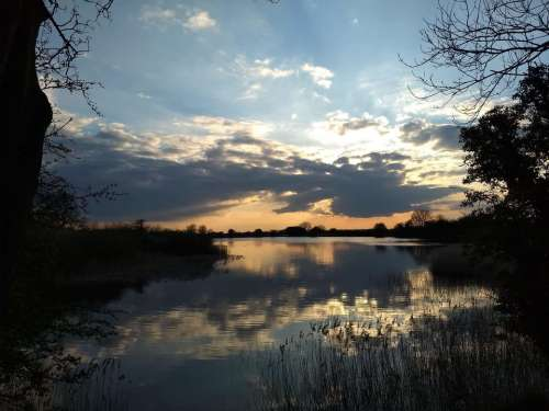sunset lake golden sunset canal harmony